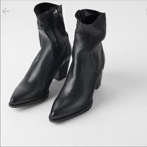 ZARA LEATHER HEELED COWBOY ANKLE BOOTS BLACK 9